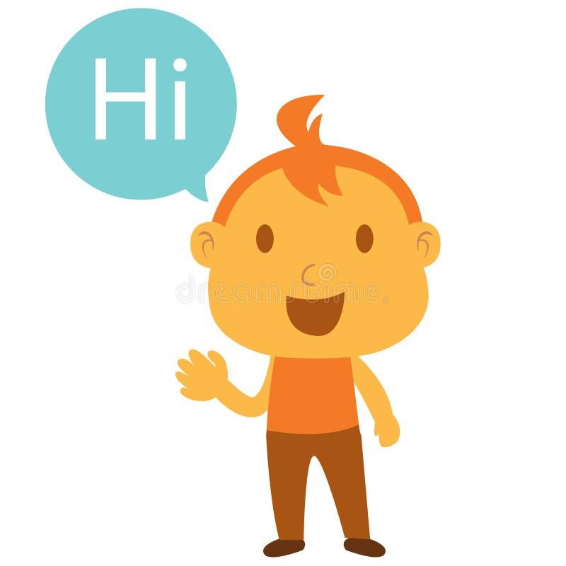 Hi 5 Cartoon Characters : A man say hi stock vector illustration of little drawing