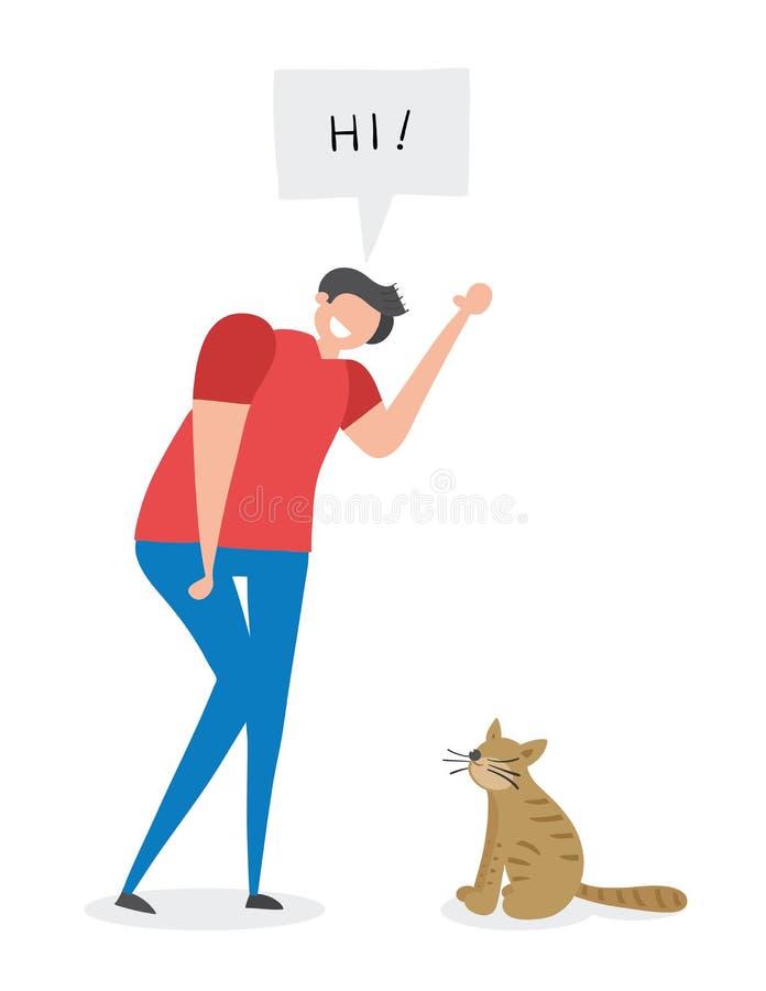 Man says hi to the cat, hand-drawn vector illustration royalty free illustration