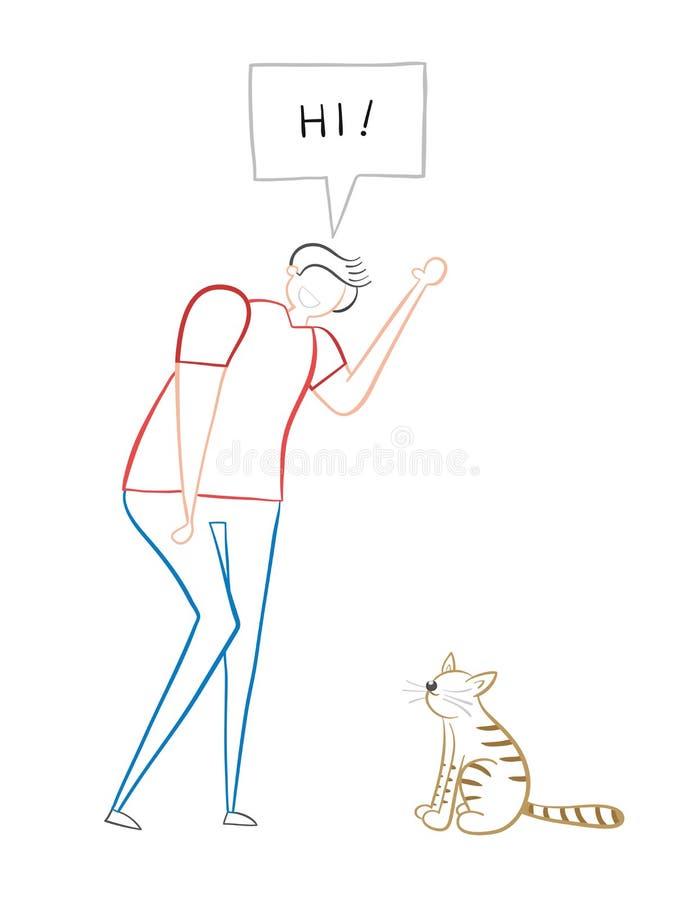 Man says hi to the cat, hand-drawn vector illustration stock illustration