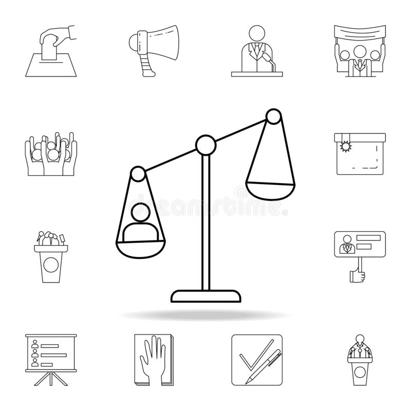 man on the scales icon. Detailed outline set of elections element icons. Premium graphic design. One of the collection icons for royalty free illustration