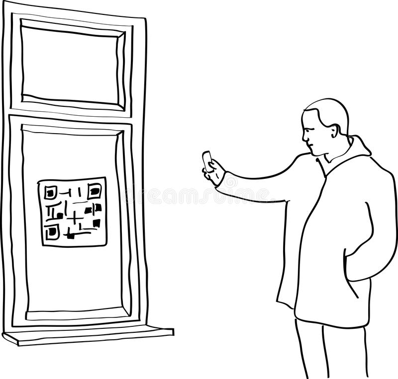Man scanning QR code stock illustration