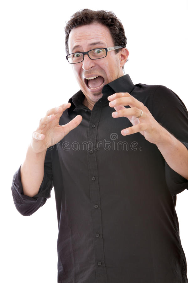 Download Man scary expression stock image. Image of mouth, fear - 26448001