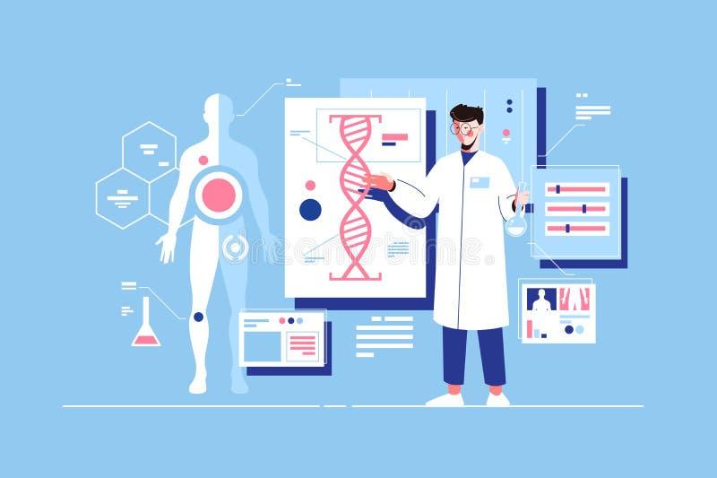 Man scientist with dna model stock illustration