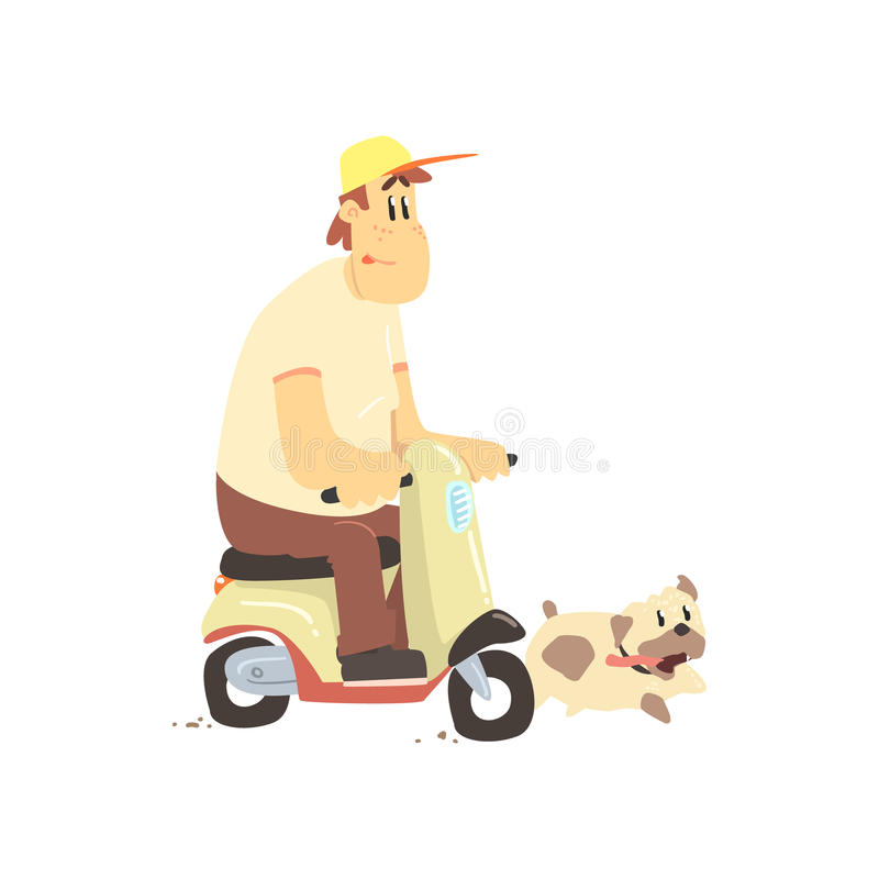 Man On Scooter With Dog stock illustration
