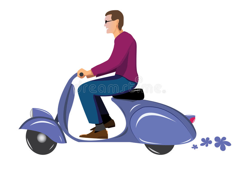 Man on scooter. Man on vintage scooter vespa blue vector illustration
