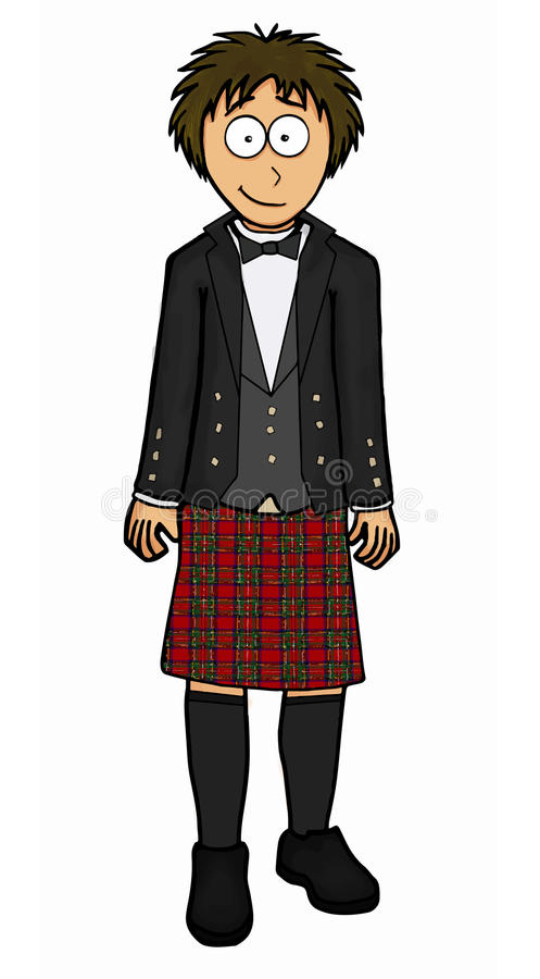 Man in scottish kilt illustration stock illustration