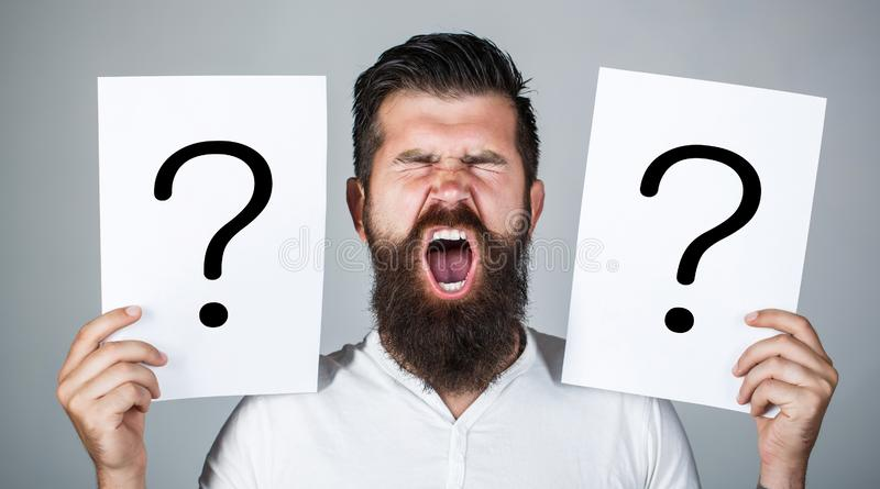 Man screaming, emotion. Man question. Male with emotion scream, question marks. Screaming man. Getting answers, scream royalty free stock photo
