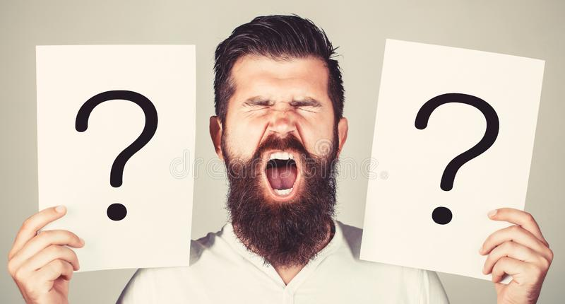Man screaming, emotion. Man question. Male with emotion scream, question marks. Screaming man. Getting answers, scream stock images