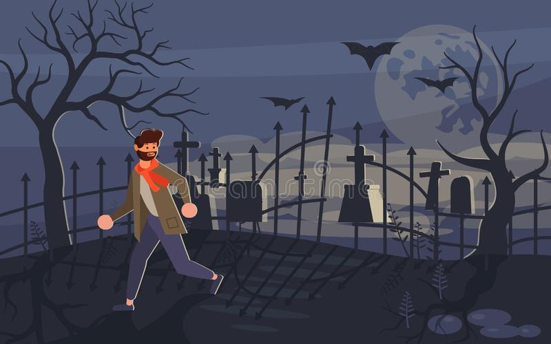 Man screaming in horror and running away royalty free illustration