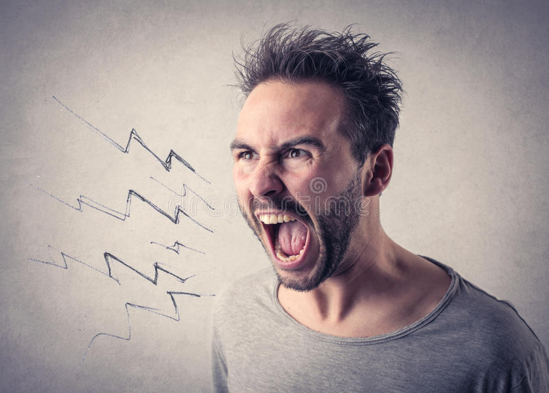 Man screaming out loud royalty free stock photo