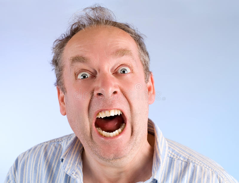 Man Screaming About Something Stock Photo