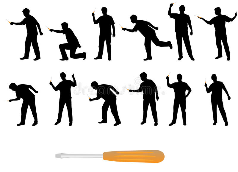 Download Man With Screwdriver Silhouettes Stock Vector - Illustration: 10915856