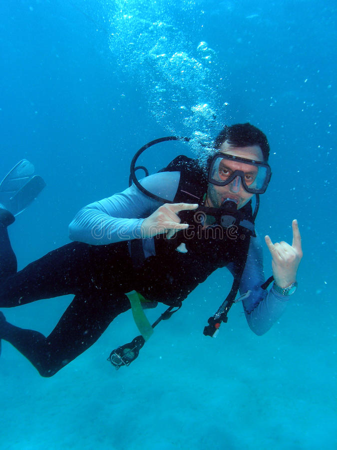 Free Man Scuba Diving Royalty Free Stock Photo - 9609335