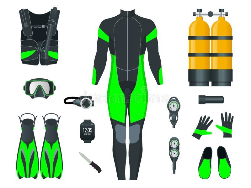 Man Scuba-uitrustingstoestel en toebehoren Apparatuur om te duiken IDiver wetsuit, scuba-uitrustingsmasker, snorkelt, vinnen, dui vector illustratie