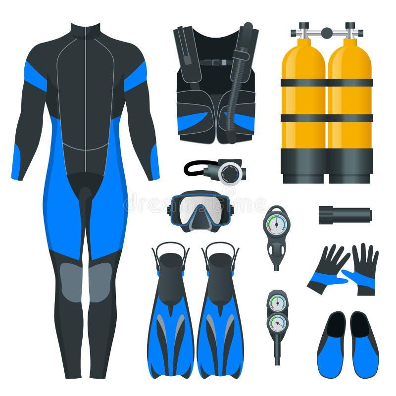 Man Scuba-uitrustingstoestel en toebehoren Apparatuur om te duiken IDiver wetsuit, scuba-uitrustingsmasker, snorkelt, vinnen, dui royalty-vrije illustratie