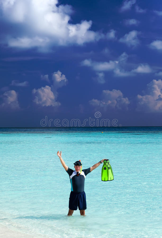 Man In The Sea With The Equipment For A Snorkeling Stock Photo