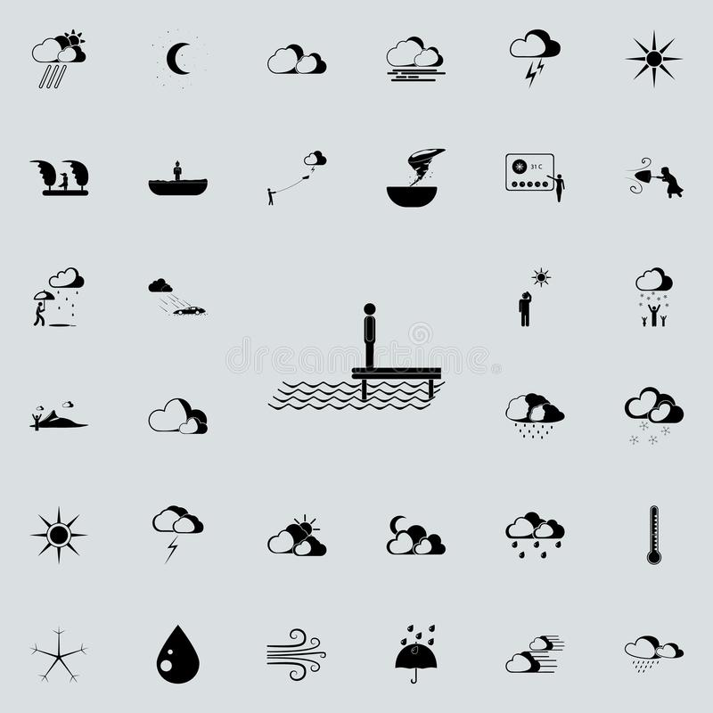 man by the sea sign icon. Detailed set of Weather icons. Premium quality graphic design sign. One of the collection icons for web royalty free illustration