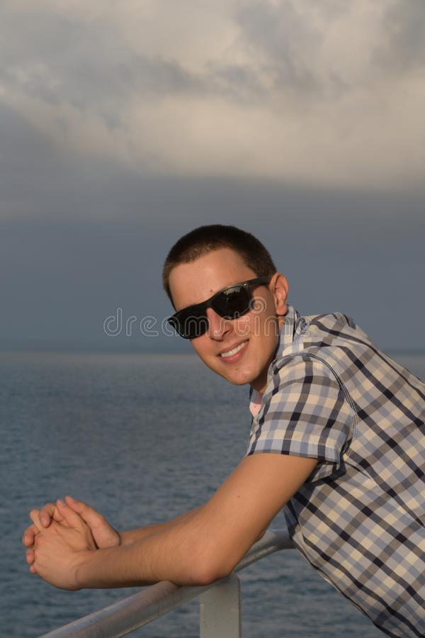 Man and sea royalty free stock photo