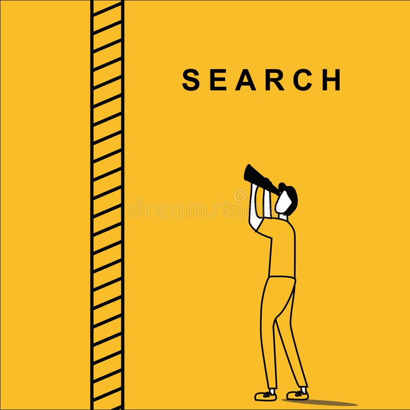 Man searching above the ladder. Man with binocular searching for idea with a step ladder beside him, with infinite range vector illustration