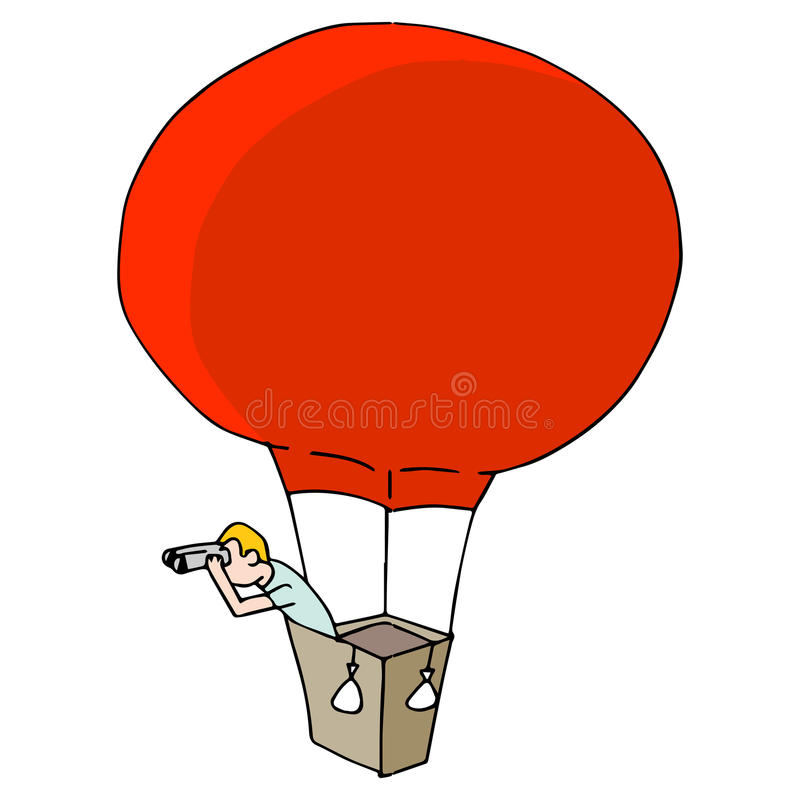 Man Searching with Binoculars in Hot Air Balloon. An image of a Man Searching with Binoculars in Hot Air Balloon royalty free illustration
