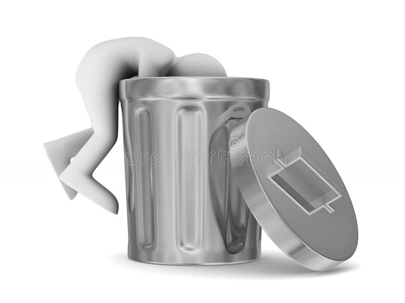 Download Man Searching In Garbage Container Stock Illustration - Image: 24737389