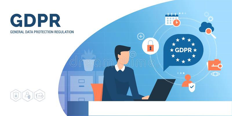 Man searching informations on GDPR. Man searching informations on general data protection regulation GDPR online royalty free illustration