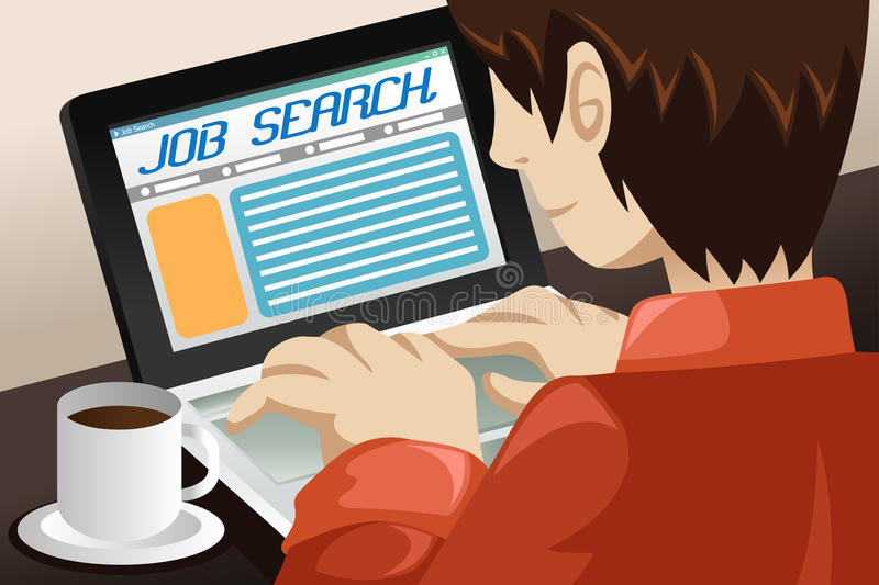 Man Searching for a Job Online. A vector illustration of a man searching for a job online royalty free illustration