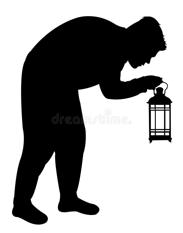 Man searching with lantern. A man searching with lantern, black color silhouette vector royalty free illustration