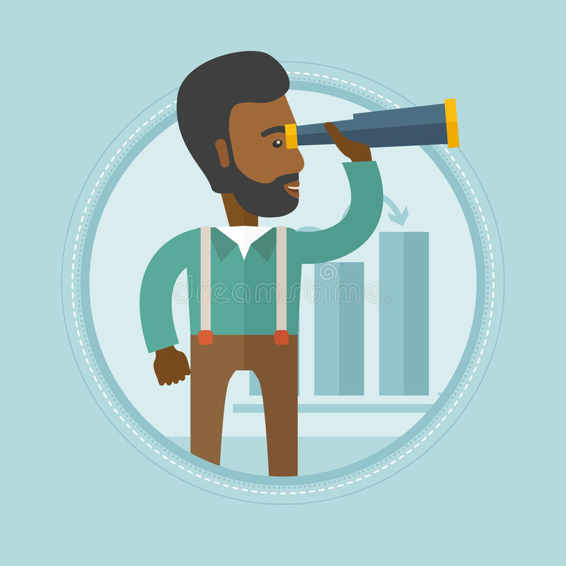 Man searching opportunities for business growth. An african man searching opportunities for business growth. Business growth concept. Man with spyglass looking stock illustration