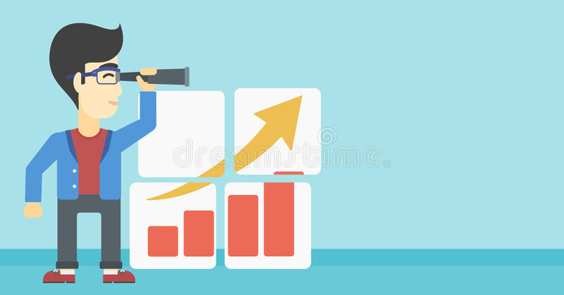 Man searching opportunities for business growth. Businessman looking through a spyglass at chart. Man searching the opportunities for business growth. Business vector illustration