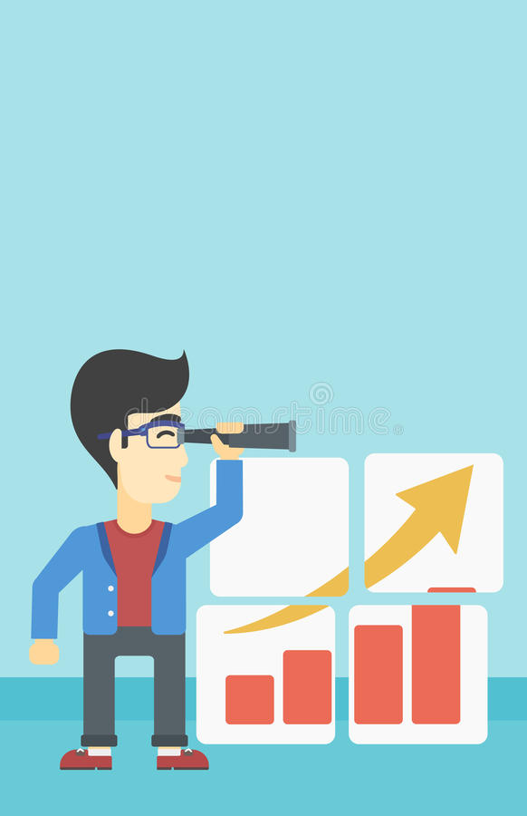Man searching opportunities for business growth. Businessman looking through a spyglass at chart. Man searching the opportunities for business growth. Business stock illustration