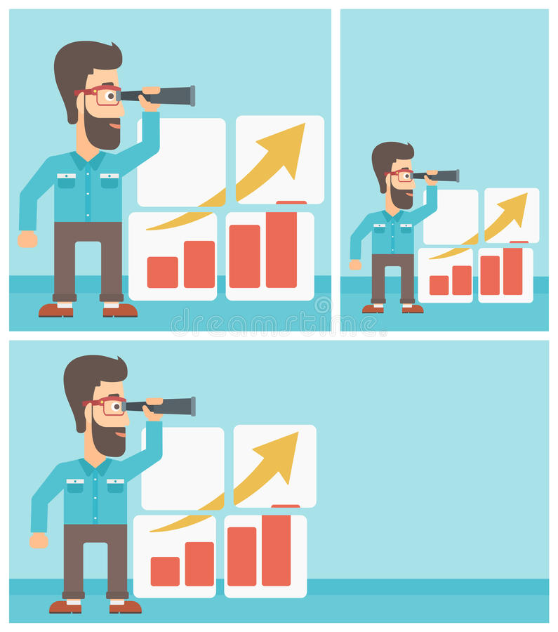 Man searching opportunities for business growth. A hipster businessman looking through a spyglass at chart. Man searching the opportunities for business growth stock illustration