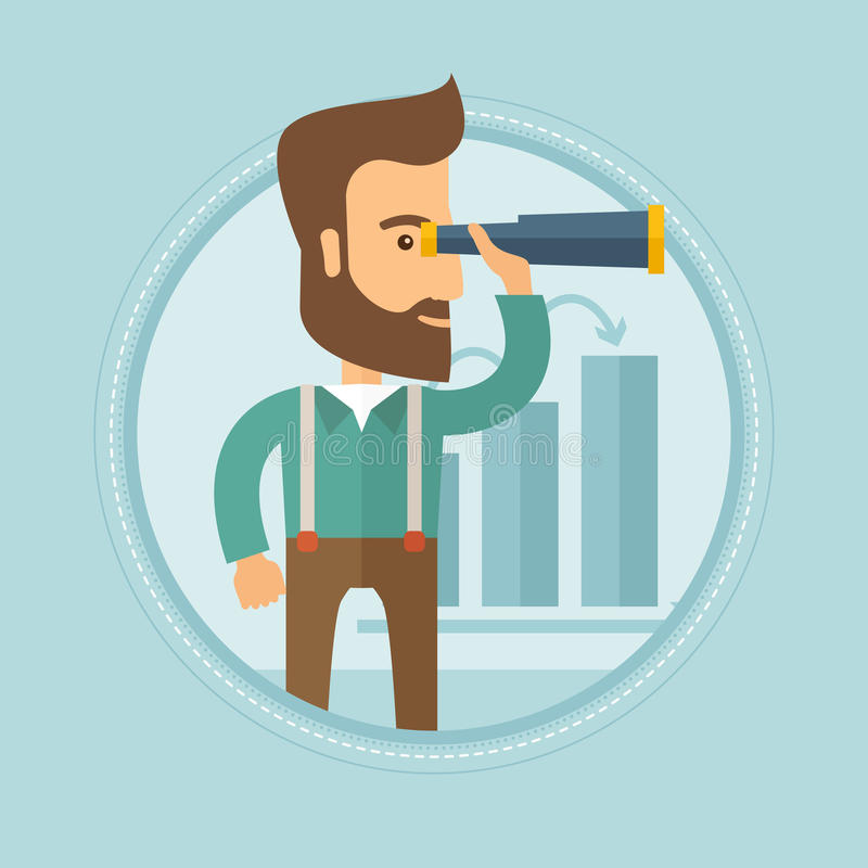 Man searching opportunities for business growth. A hipster businessman looking through a spyglass at chart. Man searching the opportunities for business growth royalty free illustration