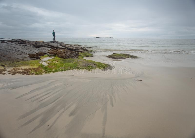 Man on the seashore with low tide. Small man on the seashore with low tide in the Norway stock photo