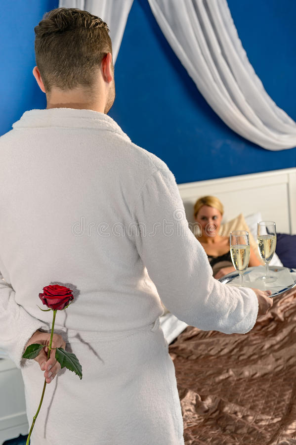 Free Man Seducing Flirting Affair Mistress Rose Bedroom Stock Photos - 29248003