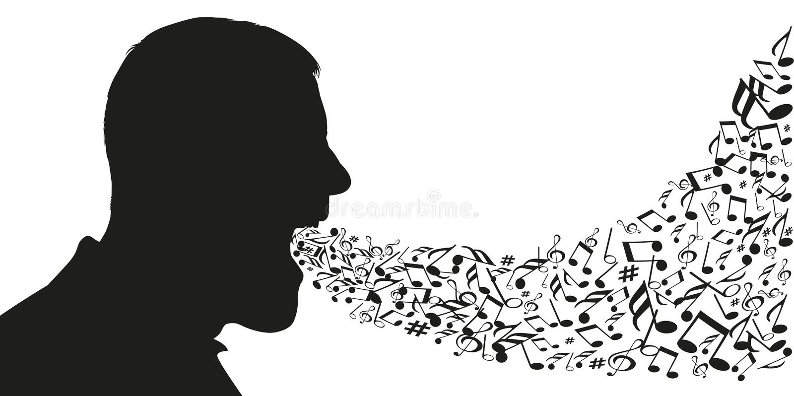 A man seen in profile opens his mouth to let out notes of music. Concept of music and singing with notes of music coming out of the mouth of a man whose royalty free illustration