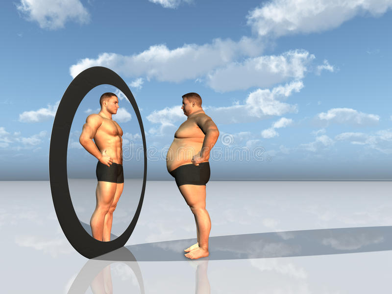 Man sees other self in mirror royalty free illustration