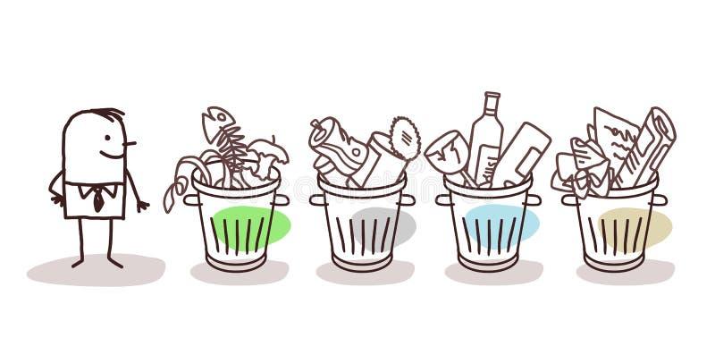 Man and selective sorted garbage. Cartoon man and selective sorted garbage vector illustration