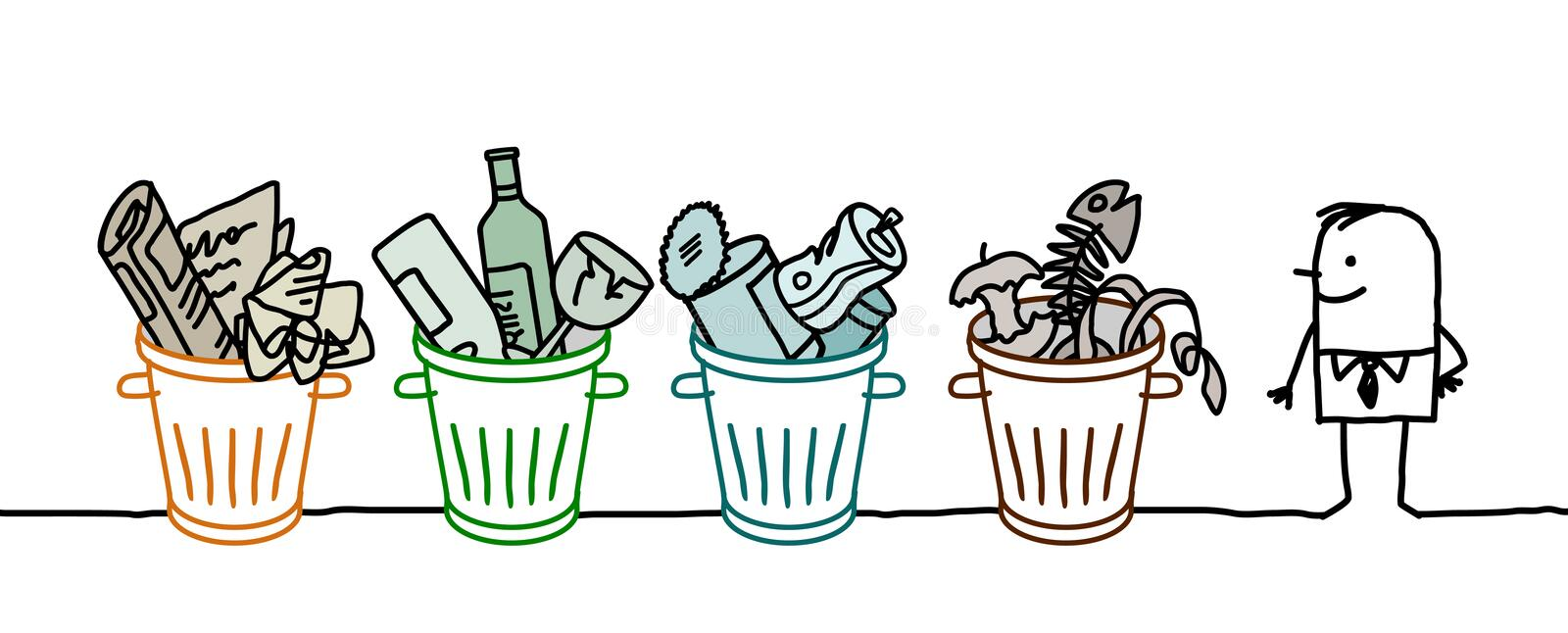 Man and selective sorted garbage. Hand drawn cartoon characters royalty free illustration