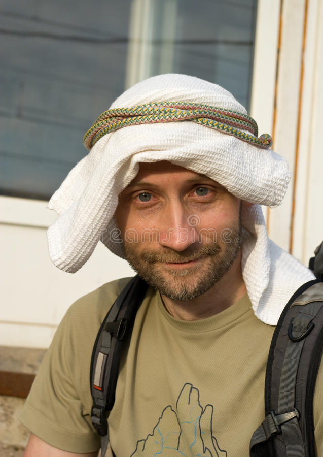 Download Man in self-made kaffiyeh stock image. Image of color - 14483391