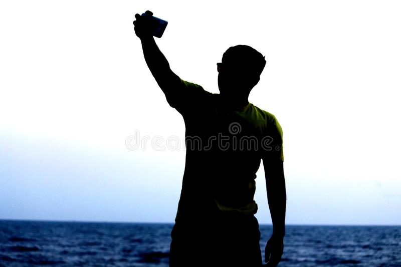 Man with selfie royalty free stock photo