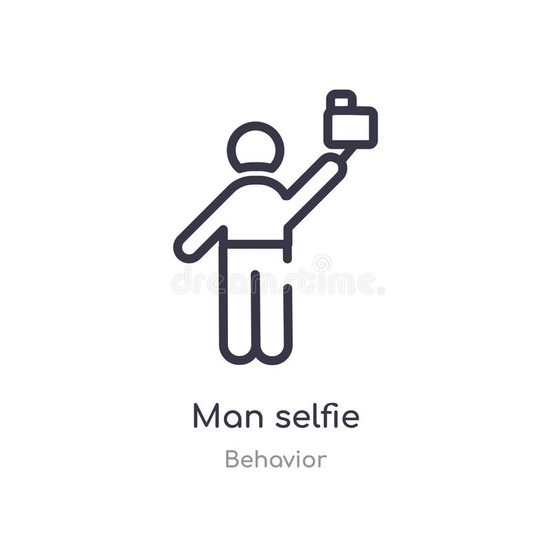 man selfie outline icon. isolated line vector illustration from behavior collection. editable thin stroke man selfie icon on white royalty free illustration