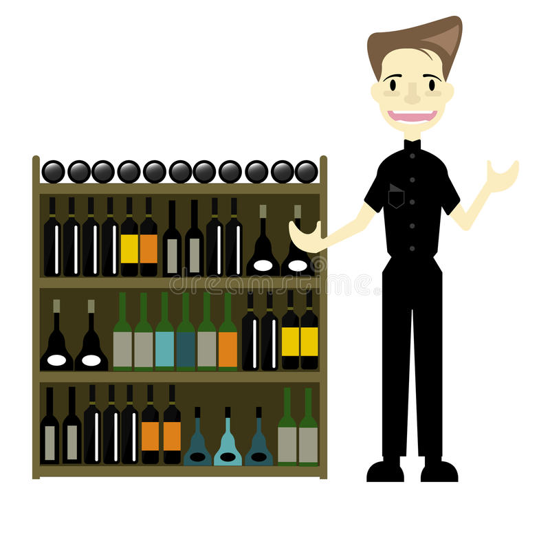 A man seller Premium wine at Duty Free Airport vector/ Illustration royalty free stock image