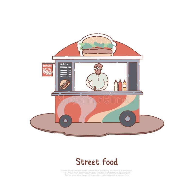 Man selling fresh juice, summer refreshment, vendor and happy customer, street food stall, take away service, juice kiosk banner vector illustration