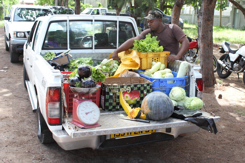 Man selling fresh vegetables from truck. Image of a man selling fresh vegetables from his truck, in the streets of Port Mathurin, Rodrigues Island. For editorial royalty free stock photography