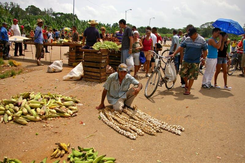 Man selling garlic, corn an bananas in Cuba stock images