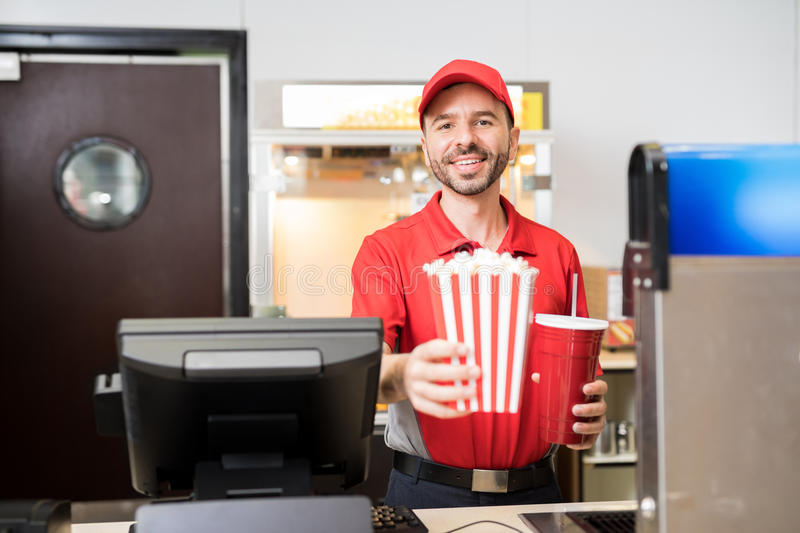 Man Selling Snacks At The Movie Theater Stock Image - Image of ...