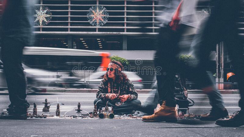 Man selling on streets royalty free stock photography