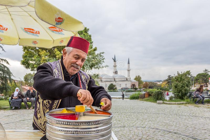 Man sells Ottoman Macun in Edirne,Turkey royalty free stock images