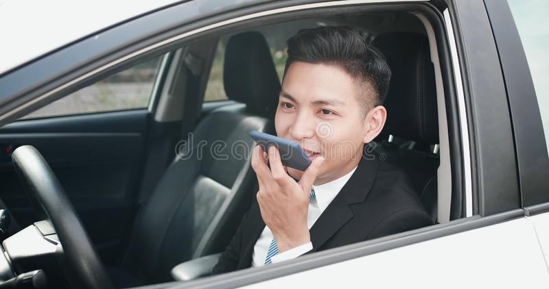 Man send audio message stock image